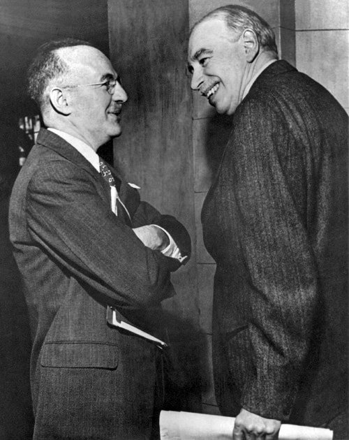 John Maynard Keynes and Harry Dexter White at the inaugural meeting of the IMF's Board of Governors in Savannah, Georgia, U.S., 1946